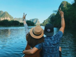 Vietnamese young couple travel