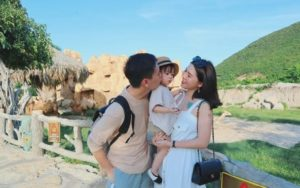 Vietnamese young family travel